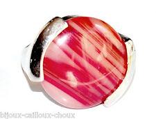 grosse Bague fantaisie plaqué argent Agate rubanée T 50 bijou ring