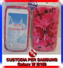 Pellicola + custodia cover case SFONDO ROSA FARFALLE per Samsung Galaxy W I8150