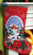 "Bucilla Chickadees ~ 18"" Felt Christmas Stocking Kit #86326 Birds, Snow New 2012"