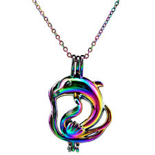 C311 Multi Color Dolphin Pearl Cage Locket Rainbow Color Chain Necklace