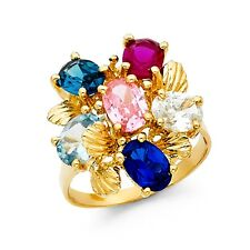 Cz Multi Color Cocktail Ring Solid 14k Yellow Gold Fashion Band Gemstone Fancy