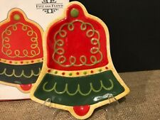 Fitz Floyd Sugar Coated Christmas Snack Plate Bell Dish (No spreader)