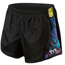 TYR Men's Large Black Multicolor Running Jogging Exercise Shorts 80's Retro New