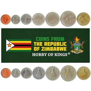 SET OF 7 COINS FROM ZIMBABWE: 1, 5, 10, 20, 50 CENTS, 1, 2 DOLLARS. 1980-1999