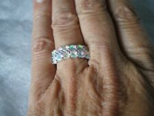 Ethiopian Opal cluster ring, size P/Q, 1.31 carats, 2.4 grams of 925 Sterling Si