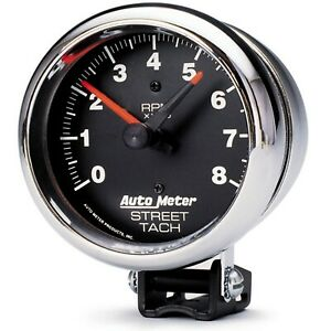 Auto Meter For Traditional Chrome 3-3/4in Analog 0-8000 Pedestal Tachometer 2895