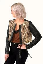 Diesel G-SOPHIA Woven Detail Cropped Leather Jacket Small UK 8 RRP £490 US6
