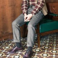 Retro Mens Herringbone Wool Tweed Trousers Straight Slim Fit Dress Suit Pants