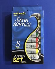 Satin Acrylic Paint Set 8X18ml Mont Marte Intro Set Semi Matte Finish Art Craft