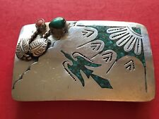 Sterling Silver Native American Turquoise Coral Thunderbird Belt  Buckle