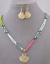 Seed Bead Gold Shell Necklace Earrings Set Multi Color Fashion Jewelry NEW