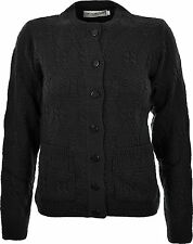 Womens Ladies Knitted Crew Neck Pocket Front Button Up Aran Cardigan UK 10-24
