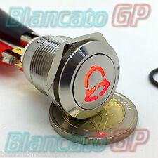 PULSANTE 19mm PER CAMPANELLO SIMBOLO ILLUMINATO LED 12V ROSSO ACCIAIO INOX METAL