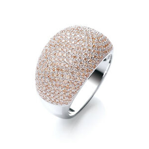 Rhodium Plated Cocktail Ring Champagne Clear Cubic Zirconia Round Stones J JAZ
