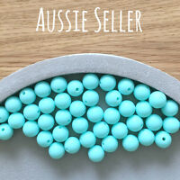 10 silicone beads AQUA BLUE 12mm round BPA free baby teething safe necklace
