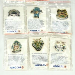 Vintage 1987 Unocal 76 Los Angeles Dodgers 6 Pin Collectors Set Complete on Card