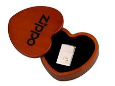"ZIPPO ""I LOVE YOU"" POLISHED CHROME LIGHTER w.HEART WOODEN BOX / ** NEW IN BOX **"