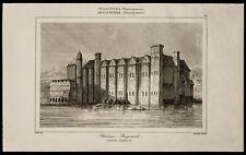 1842, Gravure ancienne Chateau Baynard / Angleterre engraving Castle