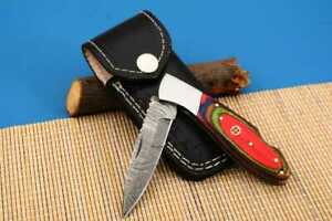 MH KNIVES RARE CUSTOM DAMASCUS STEEL FOLDING/POCKET KNIFE BACK LINER LOCK MH-37