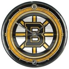 Boston Bruins Chrome Round Wall Clock [NEW] NHL Sign Banner Office Cave