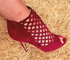 """Jimmy Choo Burgundy Suede """"Drift"""" High Heeled Cage Booties EUC Size 40"""