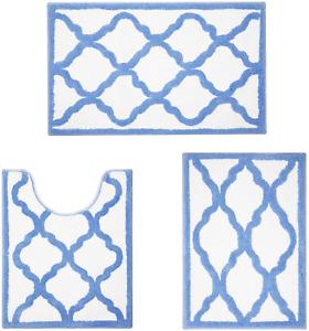 Bath Mat Set 3pcs Microfiber Blue Bathroom Contour Toilet Rug Non Slip Absorbent