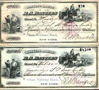 RARE 1890's GIRARD PA CHASE BANK DRAFT(S) FINE VIGNETTES, HISTORIC AUTOGR cv $40