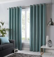 Fusion Sorbonne Ready Made Plain Duck Egg 100% Cotton Lined Eyelet Curtains