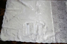 """White/Silver 70"""" x 106"""" Tablecloth and 10 Matching 16 1/2"""" x 16 1/2"""" Napkins"""