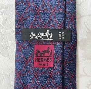 "Vintage Hermes Men's Blue w/ Geometric Tri-""H"" Silk Tie #913 HA Made in France👔"