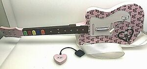 RARE PlayStation 2 Pelican Aly & AJ Pink Guitar Hero Guitar Excellent w/Dongle!