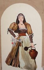 Vintage woman innkeeper theatre costume design gouache/collage painting