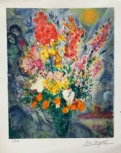 """Marc Chagall ORIGINAL BOUQUET Limited Edition Facsimile Signed Giclee 12"""" x 9"""""""