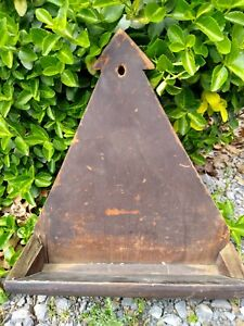 Early Primitive Unusual Wooden Hanging Wall Box Old Paint