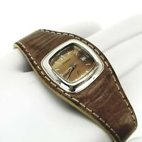 Fossil F2 ES-9733 Womens Analog Wrist Watch Genuine Leather Band Petite Square
