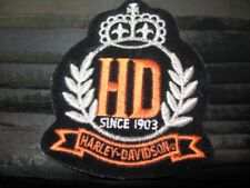 "HARLEY DAVIDSON Crown HD SINCE 1903 Patch.. 3.5""x3"" Free Shipping.."