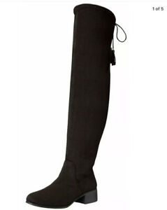 Madden Girl Womens PRISSLEY Over Knee, Black Fabric, Size 7.5M