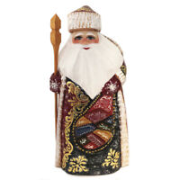 Santa Claus Figurine Wooden Russian Hand Carved Father Frost 8 3/4 Inch Red