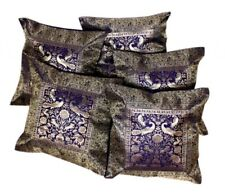 5 Traditional Elephant Embroidered USA Banarasi Brocade Work Silk Cushion Covers