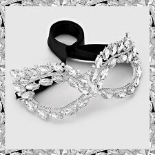 Silver Clear Glass Crystal Marquise Cat Eye Face Mask Party Ball Masquerade Chic