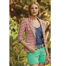 ANTHROPOLOGIE CARTONNIER sz M STRIPED TERRY blazer in gray and coral EUC