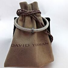 David Yurman Cable Classics Pave' Black Diamonds Cuff Bangle Bracelet Silver