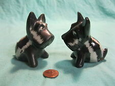 Vintage Black White Scottish Terrier Dog Salt and Pepper Shakers Ceramic      74