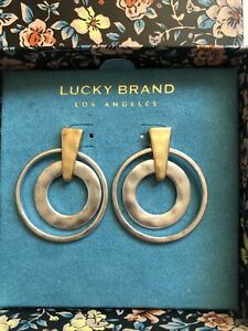Lucky Brand Hammered Two-Tone Geometric Triangle/Double Circle Drop Earrings NIB