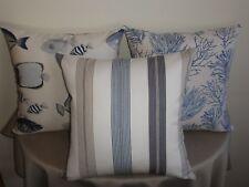 Blue Offwhite Taupe Hamptons Ticking Nautical Stripe Cushion Covers 45cm Au Made