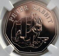 2020 Peter Rabbit Fifty Pence 50p BU NGC MS67 DPL Great Britain Coin UK