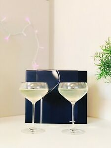 John Lewis Wine Champagne Glasses Set of 2 Fine Crystal Glass Saucers