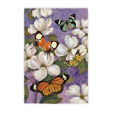 Oriental Dogwood & Butterflies Spring Summer Purple Garden 2 Sided Sm Flag