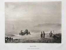 Friedrich SALATHÉ (1793-1858) LE HAVRE normandie Aquatinte Peint par Grenier
