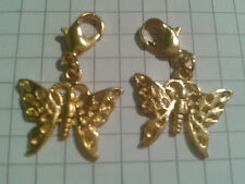 TIBETAN ALLOY GOLDEN[2]FANTASTIC BUTTERFLY ON GOLD PLATED LOBSTER CLASPS +POUCH